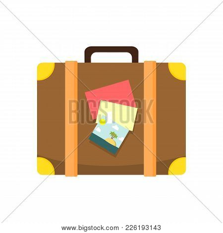 Traveller Leather Brown Suitcase Vector Illustration Graphic Design