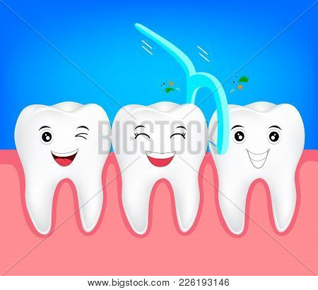 Teeth With Dental Floss For Health Care. Dental Care Concept. Cute Tooth Character, Illustration.