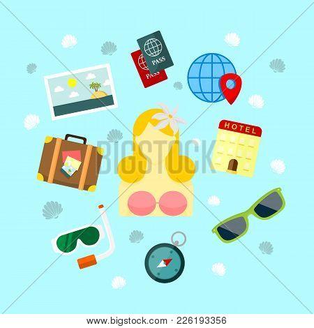Fun Holiday Travel Vector Illustration Graphic Design Set