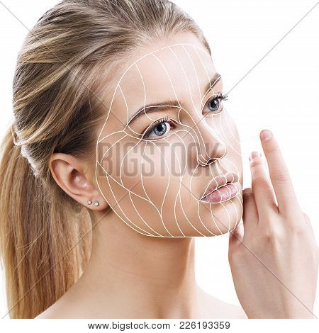 Face lift anti-aging lines on young female face. Graphic lines showing facial lifting effect on skin. Isolated on white poster