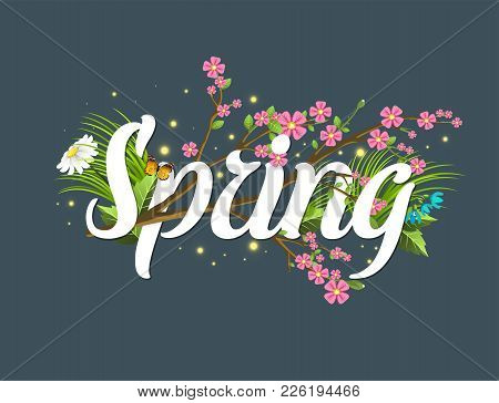 Spring Vector Text Lettering Background With Text Letter Ornament Beautiful Calligraphy Flower Hello