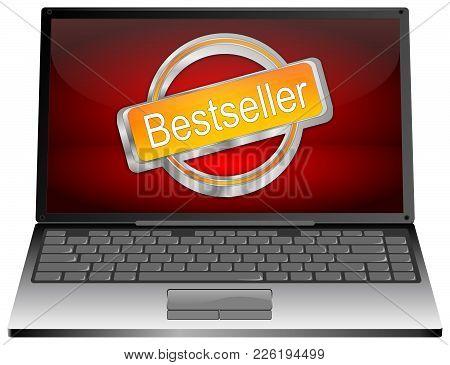 Laptop Computer With Orange Bestseller Button - 3d Illustration