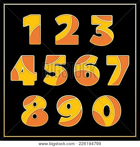 Colorful Stylized Mosaic Font With Digits. Part 4 Of 5. Enamel Jewelry Art Isolated Numbers In Warm