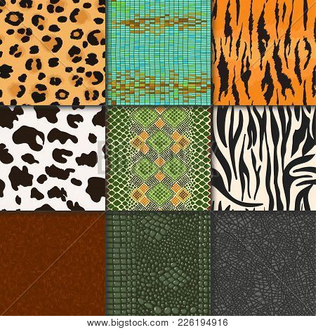 Animal Skins Vector Pattern Seamless Animalistic Skinny Textured Backdrop Of Wild Skinning Natural F