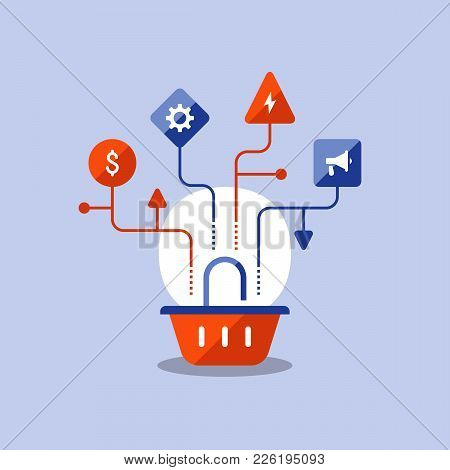 Marketing Strategy Plan, Basket Icon, Sales Improvement, Online Shopping, E-commerce, Vector Icon, F