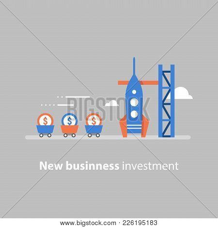 New Business, Start Up Concept, Attracting Money, Fund Raising, Rocket Launch, Venture Capital, Futu