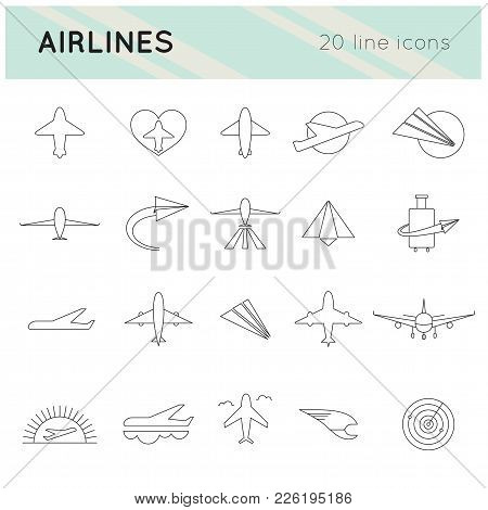 Airlines Thin Line Icons Set, Vector Illustration. Airplanes, Isolated Elements, Abstract Symbols Fo