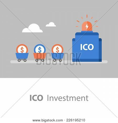 Ico Investment, Business And Finance, Cryptocurrency Token, Stock Market, Vector Flat Illustration