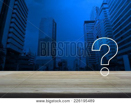 Question Mark Sign Icon Over Modern Office City Tower Background, Customer Support Concept
