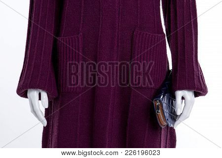 Close Up Female Knitted Patterned Cardigan. Female Mannequin Dressed In Purple Knitted Cardigan With