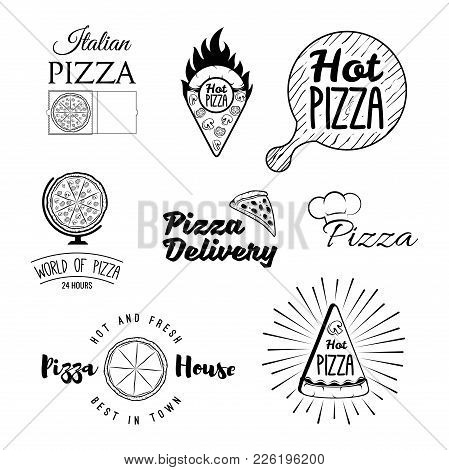 Retro Italian Cuisine Restaurant Labels, Logos And Emblems Vector Set. Food And Cuisine, Sign And La