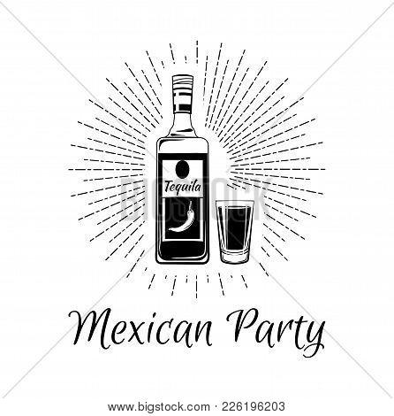 Glass And Bottle Of Tequila, Salt And Slice Of Lime.vintage Vector Engraving Illustration For Label,
