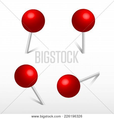 Red Office Round Push Pins. 3d Push Pin. Set Vector Realistic Office Attach Button.