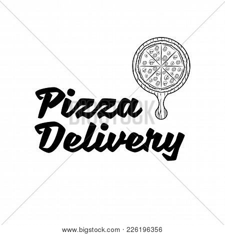 Pizza Delivery Vector Company Logo Template With Sample Text, Pizza Inside The Stopwatch Symbolizing