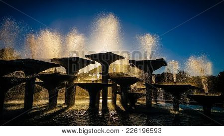 Fountains in city