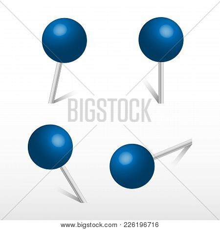 Blue Office Round Push Pins. 3d Push Pin. Set Vector Realistic Office Attach Button.