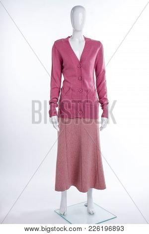 Pink Cardigan And Skirt For Women. Female Mannequin Dressed In Buttoned Sweater And Skirt, White Bac