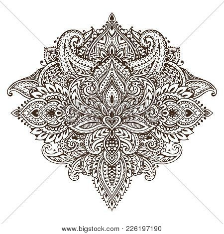 Vector Pattern Of Henna Floral Elements Based On Traditional Asian Ornaments. Paisley Mehndi Tattoo