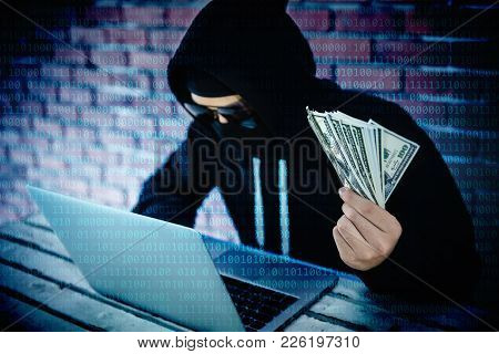 Computer Hacker Trying To Accessing Information Privacy Of The Companies And Showing Money Income Fr