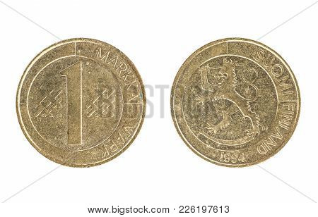 Set Of Commemorative The Finnish Coin, The Nominal Value Of 1 Markka, From 1994. Isolate On White Ba