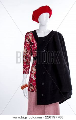 Red Beret And Black Coat For Women. Female Mannequin With Blouse, Skirt And Accessories. Feminine Ca