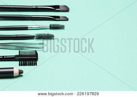 Accessories For Care Of Brows. Eyebrow Grooming Tools. Side View, Shallow Depth Of Field. Copy Space