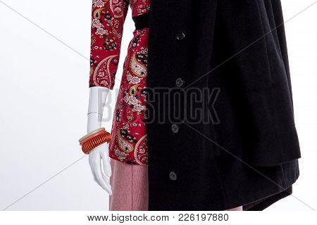 Close Up Female Blouse, Coat And Bracelets. Female Mannequin With Black Overcoat And Fashion Wristba
