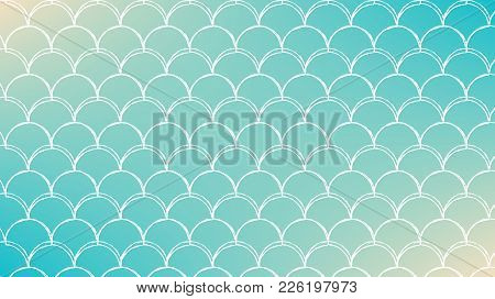 Fish Scale On Trendy Gradient Background. Horizontal Backdrop With Fish Scale Ornament. Bright Color