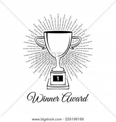 Sport Trophy Sketch. Hand Drawn Winners Prize On White Background. Winner Cup In Beams. Vector Illus