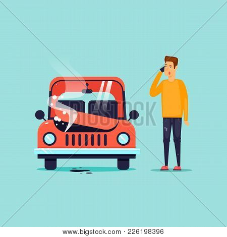 Breakdown Of The Car. Flat Design Vector Illustration.