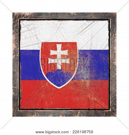 3d Rendering Of A Slovakia Flag Over A Rusty Metallic Plate Wit A Rusty Frame. Isolated On White Bac