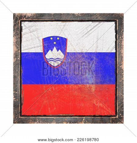3d Rendering Of A Slovenia Flag Over A Rusty Metallic Plate Wit A Rusty Frame. Isolated On White Bac