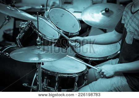 Drummer In The Studio, Music Concept In White And Black Tone