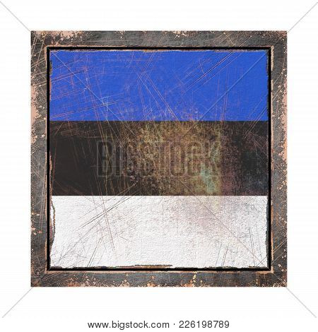 3d Rendering Of An Estonia Flag Over A Rusty Metallic Plate Wit A Rusty Frame. Isolated On White Bac