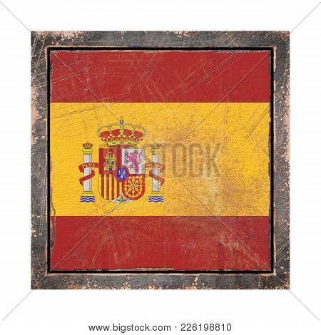 3d Rendering Of A Spain Flag Over A Rusty Metallic Plate Wit A Rusty Frame. Isolated On White Backgr