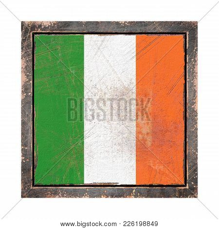 3d Rendering Of An Ireland Flag Over A Rusty Metallic Plate Wit A Rusty Frame. Isolated On White Bac