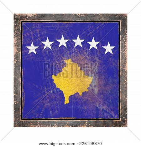 3d Rendering Of A Kosovo Flag Over A Rusty Metallic Plate Wit A Rusty Frame. Isolated On White Backg