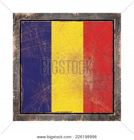 3d Rendering Of A Romania Flag Over A Rusty Metallic Plate Wit A Rusty Frame. Isolated On White Back