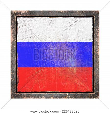 3d Rendering Of A Russian Federation Flag Over A Rusty Metallic Plate Wit A Rusty Frame. Isolated On
