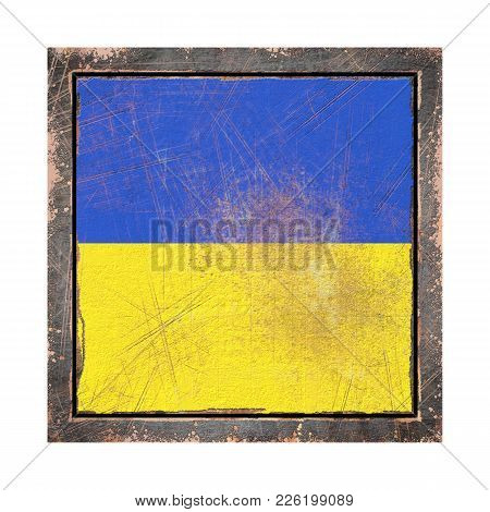 3d Rendering Of A Ukraine Flag Over A Rusty Metallic Plate Wit A Rusty Frame. Isolated On White Back