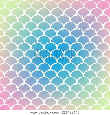 Fish Scale On Trendy Gradient Background. Square Backdrop With Fish Scale Ornament. Bright Color Tra