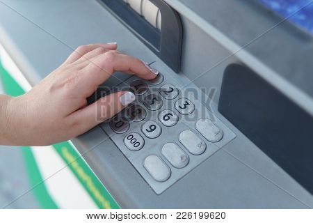 Girl's Hand Dials The Password In The Atm,