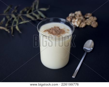 Traditional Turkish Drink Consumed Frequently During Winter Months Boza Or Bosa. Black Background.