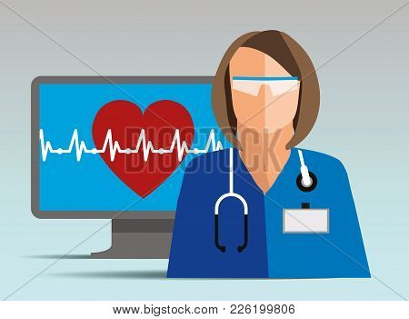 Doctor. Medical Worker. Health Care. Doctor With A Heart. Doctor And Heart Pulse Online Service. Dig