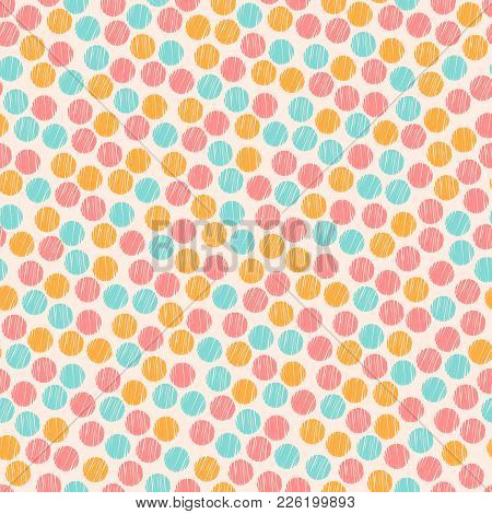 Pastel Colored Pink Chaotic Striped Dots And Spots Abstract Seamless Pattern, Vector Background