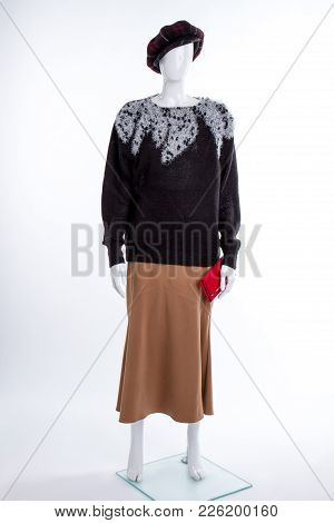 Cap, Sweater, Skirt And Wallet. Black Sweater And Red Purse. Classic Brown Skirt. Women Elgance And