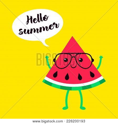 Cartoon Card With Funny Watermelon In Glasses On Yellow, Holiday Background With Watermelon And Insc