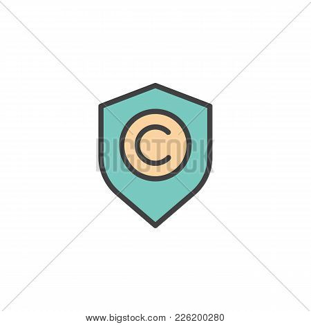 Shield With Copyright Sign Filled Outline Icon, Line Vector Sign, Linear Colorful Pictogram Isolated