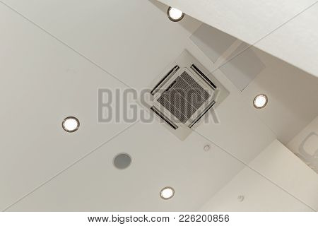 White Ceiling Lighting In Meeting Room. Lights From Ceiling. Lamp On The Modern Ceiling.