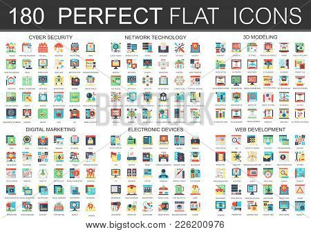 180 Vector Complex Flat Icons Concept Symbols Of Cyber Security, Network Technology, Web Development